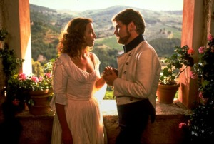 Emma Thompson as Beatrice and Kenneth Brannagh as Benedick (1993).