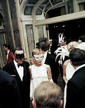 Frank Sinatra and Mia Farrow arriving at Truman Capote's Black and White Ball.