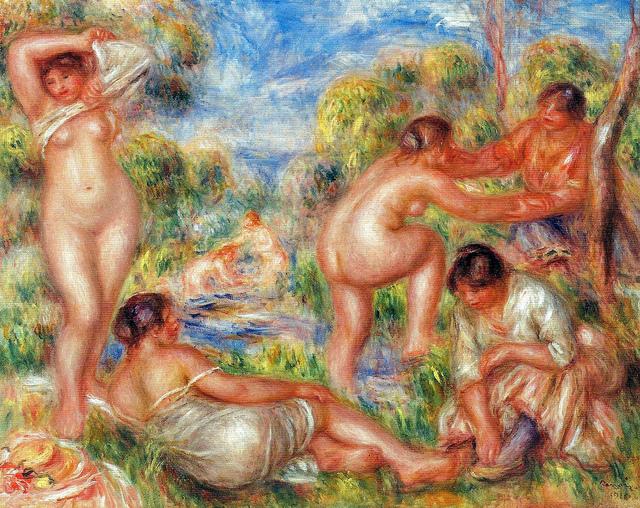 "Pierre Renoir ""The Bathing Group (1916)"" Barnes Foundation"