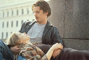 Celine (Julie Delpy) and Jesse (Ethan Hawke) in Before Sunrise