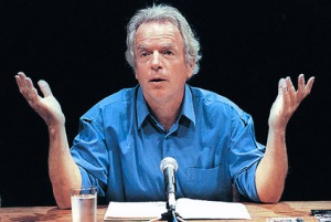 Spalding Gray and his entire stage setting