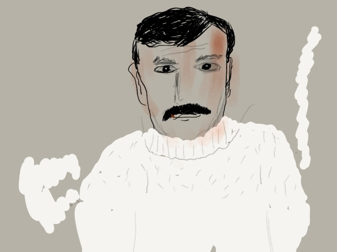 Hemingway as a young man.   illustration 2014 by jpbohannon