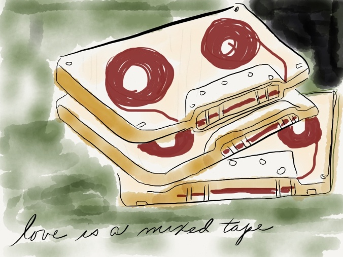 """Love is a Mixed Tape"" illustration 2014 by jpbohannon (based on book cover)"
