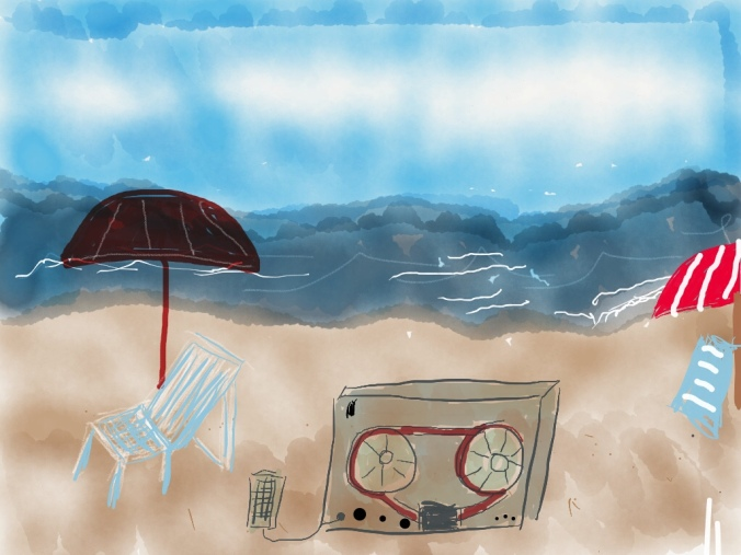 Recording on the beach illustration 2015 by jpbohannon