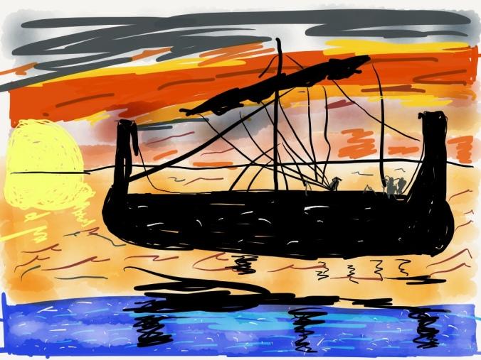 Ulysses sailing west illustration 2013 by jpbohannon